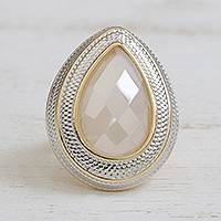 Gold plated quartz single-stone ring, 'Stunning Drop' - Drop-Shaped Gold Plated Quartz Single-Stone Ring