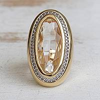 Gold accented quartz single-stone ring, 'Oval Glimmer' - Gold Accented Quartz Single-Stone Ring from Brazil