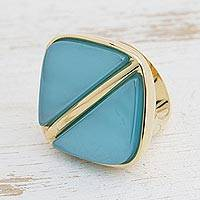 Gold plated agate signet ring, 'Contemporary Triangles' - Modern Gold Plated Agate Signet Ring from Brazil