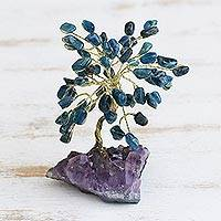 Apatite gemstone tree, 'Oceanic Leaves' - Apatite Gemstone Tree with an Amethyst Base from Brazil
