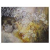 'Falling Stars' - Star Motif Signed Abstract Painting from Brazil