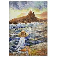 'Contemplation' - Signed Expressionist Seascape Painting from Brazil