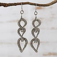 Stainless steel dangle earrings, 'Coiled Loops' - Brazil Artisan Handcrafted Stainless Steel Long Earrings