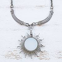 Opal pendant necklace, 'Moon Ray' - Handcrafted Opal and Stainless Steel Pendant Necklace