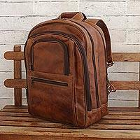 Leather backpack, 'Versatile in Saddle Brown' - Brown Leather Backpack with Laptop Compartments