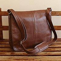 Leather messenger bag, 'Universal in Redwood' - Hand Crafted Brown Leather Messenger Bag