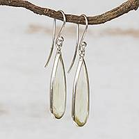 Quartz dangle earrings, 'Green Gemstone Mystique' (hooks) - Brazilian Handcrafted Green Quartz Hook Dangle Earrings
