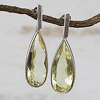 Quartz dangle earrings, 'Green Gemstone Mystique' (posts) - Brazilian Handcrafted Green Quartz Post Dangle Earrings