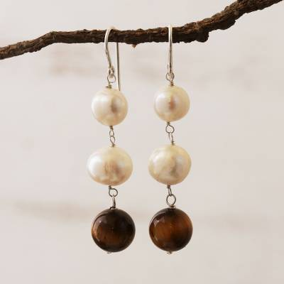 Cultured pearl and carnelian dangle earrings, 'Honey in the Clouds' - White Cultured Pearl and Tiger's Eye Earrings from Brazil