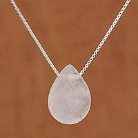 Rose quartz pendant necklace, 'Love Drop' (20 inch) - 20 In Contemporary Brazilian Rose Quartz and Silver Necklace