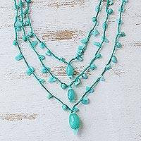 Amazonite and jade pendant necklace, 'Aqua Crochet' - Amazonite and Jade 3 Strand Crochet Necklace from Brazil