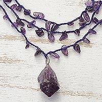 Amethyst pendant necklace, 'Violet Crochet' - Handcrafted Amethyst 3 Strand Crochet Necklace from Brazil
