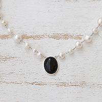 Cultured pearl and onyx pendant necklace, 'Midnight in the Clouds' - White Cultured Pearl and Black Onyx Necklace from Brazil