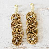 Gold accent golden grass dangle earrings, 'Sparkle and Spin' - Golden Grass Earrings with 18k Gold and Rhinestones