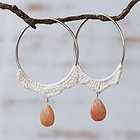 Agate hoop earrings, 'Ivory Crochet' - Brazilian Handcrafted Crochet Peach Agate Hoop Earrings
