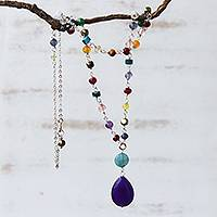 Jade multi-gemstone pendant necklace, 'Springtime Purple' - Brazilian Purple Jade & Multi-Gemstone Necklace