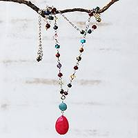Multi-gemstone pendant necklace, 'Springtime Hot Pink' - Brazilian Hot Pink Jade & Multi-Gemstone Necklace