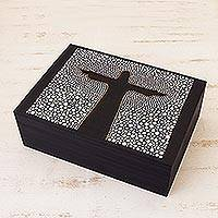 Wood jewelry box, 'Christ the Redeemer' (10 inch) - Black & White Hand Painted Cristo Redentor Box 10 Inches