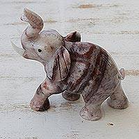Magnesite figurine, 'Proud Royal Elephant' - Handcrafted Brazilian Gemstone Elephant Sculpture