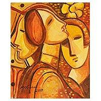 'Faces in Orange' - Orange and Brown Cubist Acrylic Painting on Canvas