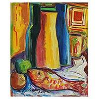'The Vase and the Fish' - Bold and Colorful Cubist Still Life Painting