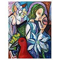 'Mother's Lap' - Bold Cubist Painting of Mother with Child
