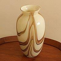 Art glass vase, 'Cream and Coffee' - Cream and Brown Murano-Inspired Art Glass Vase