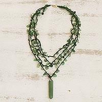 Aventurine pendant necklace, 'Green Crochet' - Aventurine 4 Strand Crochet Pendant Necklace from Brazil