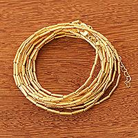 Gold plated beaded wrap bracelet, 'Golden Treasure' - Extra Long 18k Gold Plated Beaded Wrap Bracelet
