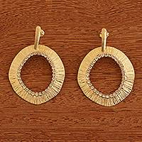 18k gold plated drop earrings, 'Contemporary Sparkle' - Brazil 18k Gold Plated Earrings with Rhinestones