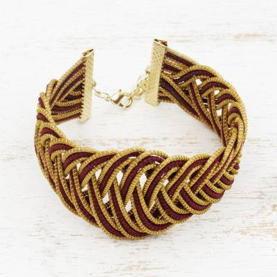 Gold plated golden grass wristband bracelet, 'Maroon Braid' - Gold Plated Brass and Golden Grass Bracelet