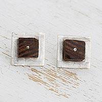 Silver and wood button earrings, 'Blockbuster' - Contemporary 950 Silver and Wood Earrings