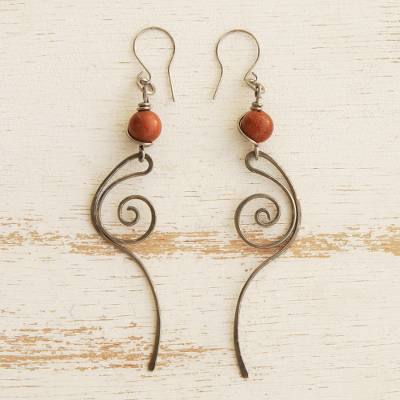 Sunstone dangle earrings, 'Solar Flare' - Stainless Steel and Sunstone Dangle Earrings