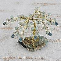Gemstone sculpture, 'Tree of Conviction' - Hand Crafted Gemstone Tree Sculpture with Aquamarine