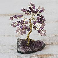 Gemstone sculpture, 'Tree of Tranquility' - Amethyst Gemstone Tree Sculpture from Brazil