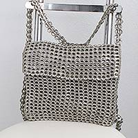 Soda pop-top backpack, 'Silvery Gleam' - Recycled Silvery Soda Pop Top Backpack Bag