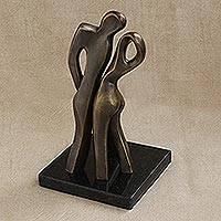 Bronze sculpture, 'Seduction' - Couple Chemistry Signed Original Bronze Fine Art Sculpture