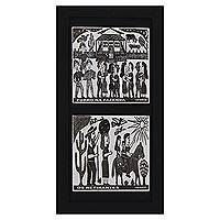 Ceramic tiles, 'Life in the Countryside' - Framed B&W Brazilian Woodcut Print Pair  on Ceramic