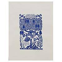 'The Hummingbirds' - Hummingbird Garden Blue and White Brazilian Woodcut Print