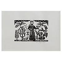 'Saint Francis' - St Francis Teaches Birds Black/White Brazilian Woodcut Print