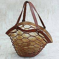 Leather shoulder bag, 'Nutmeg Sambura' (18 inch) - Artisan Crafted Expandable Brown Shoulder Bag (18 Inch)