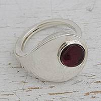 Garnet cocktail ring, 'Modernist' - Modern Garnet and Sterling Silver Ring
