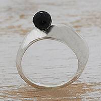 Onyx cocktail ring, 'Black Beacon' - Hand Crafted Black Onyx Cocktail Ring