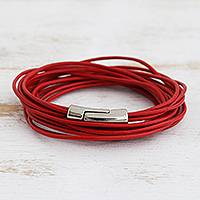 Leather cord bracelet, 'Crimson Whirl' - Modern Red Leather Cord Bracelet from Brazil