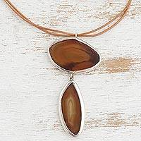 Agate pendant necklace, 'Infinite Caramel' - Caramel Agate Gemstone and Black Leather Cord Necklace