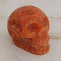 Calcite figurine, 'Tangerine Skull' - Brazilian Petite Orange Calcite Skull Sculpture