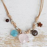 Multi-gemstone pendant necklace, 'Summer Starlight' - Brazilian 5-Gemstone Star Theme Necklace