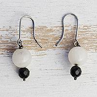 Agate and onyx dangle earrings, 'Tuxedo' - Onyx and Agate Beaded Earrings