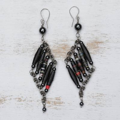 Hematite and recycled paper dangle earrings, 'Black Diamond' - Recycled Magazine and Hematite Earrings