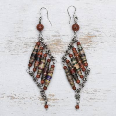 Sunstone and recycled paper dangle earrings, 'Russet Diamond' - Sunstone and Recycled Paper Earrings